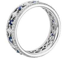 1.10 ct round cut sapphire diamond engagement wedding band ring 14k white gold