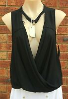 Free People sleeveless black blouse top size 10-12 New (fp52) No tags