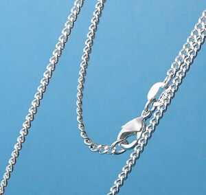 """2mm Silver Link Grinding chain necklace Sterling pendant curb 925 16-40"""" Cr2FS"""