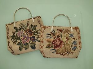 Womens Floral Tapestry Embroidered Bag with Metal Handles