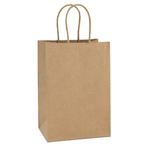 BagDream Kraft Paper Bags 50Pcs 5.25x3.75x8 Inches Small Paper Gift Bags with