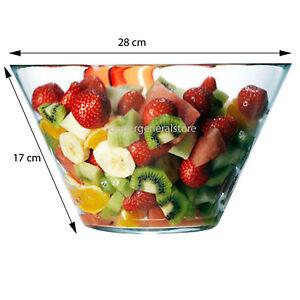 Serving Fruit Salad Bowl Kitchen Deep Food Dessert Pasta Glass Dish Plate 28cm