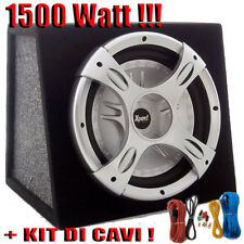 """SUBWOOFER AUTO 10"""" ATTIVO AMPLIFICATO 1500 WATT 25 CM. BOX +KIT CAVI COMPLETO!!!"""