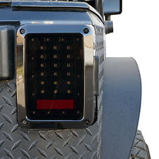 GENSSI Smoked LED Tail Lights LED Lamps With Brake for 07~17 Jeep Wrangler JK
