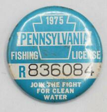 1975 PA Pennsylvania Fishing License Resident Button Vintage
