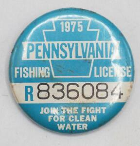 1975 PA Pennsylvania Fishing License Resident Button Vintage