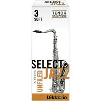 D'Addario Woodwinds Select Jazz Unfiled Tenor Sax Reeds Strength 3 Soft Box of 5