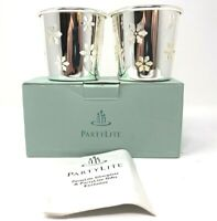 PartyLite Snowflake Christmas Silver Plate Tea Light Candle Holder Pair P7874