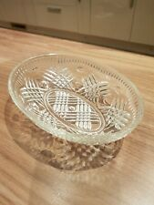 Vintage Clear Pressed Glass Oval Sweet Trinket Dish Bowl