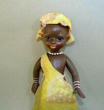"Vintage Russian Black African Girl Doll 12"" Hard Plastic"