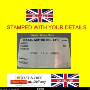 NISSAN ALL MODELS REPLACEMENT ID ALL-BLANK-VIN-CHASSIS-PLATES STAMPED FOR YOU