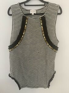 Ixiah Stripe Tank Top With Fringing & Gold Embelishment Size 12