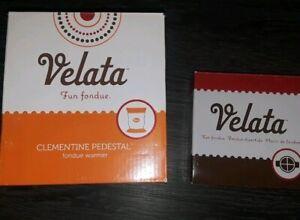 Velata Fun Fondue Warmer w/dividers & 4 sticks orange & White never used