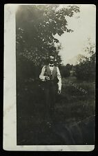 Antique Real Photo Postcard RPPC Man With Bowtie And Binoculars