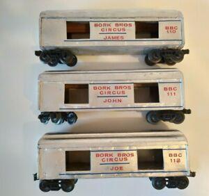 Custom Made O Scale BORK BROS CIRCUS Wood Box Cars (Set of 3)