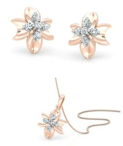 14k Rose Gold Pendant-Earring Set Real Diamond Jewelry For Women And Girls