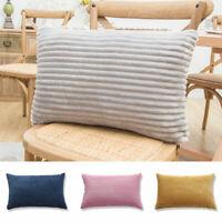 1PC 30x50cm Pillowcase Lumbar Stripes Corduroy Cushion Cover Zippered Sofa Couch