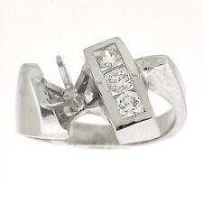 14K Modern Diamond Semi Mount Engagement Ring Setting 0.42 Carats- (SI1-G)