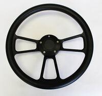 """14"""" Black Grip on Black Spoke Steering Wheel Shallow Dish for GM Column"""
