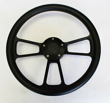 "14"" Black Grip on Black Spoke Steering Wheel Shallow Dish for GM Column"