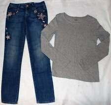 Gap Kids Dance Line Gray Shirt Top Star Glitter Embroidered Skinny Jeans M 10 Yr