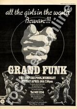 Grand Funk All The Girls In The World Beware Empire Pool MM5 LP/show Advert 1975