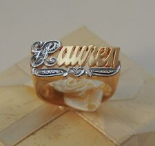 New Name Ring Personalized Sterling Silver Any Name 18k Gold Plated USA