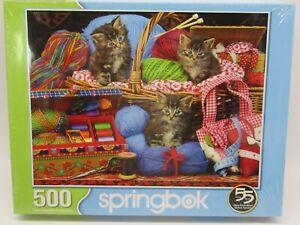 "Springbok Kitten Kitties Yarn 500 Piece Jigsaw Puzzle New Sealed 18"" x 23.5"""