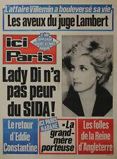 """""""LADY DI n'a pas peur du SIDA"""" Affiche originale entoilée ICI PARIS 1987"""