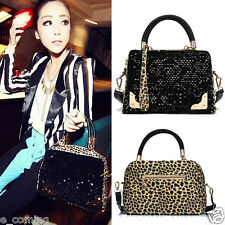 Womens Ladies Luxury Messenger Black Sequins Leopard Bag Cross Shoulder Handbags