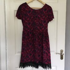 New Look Floral Paisley Print Smock Skater Style Dress Size 10 Black Lace Trim