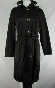 Anne Klein Women's Black Snap Up Trench Coat