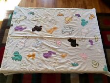 Vintage Mid-Century Cotton Crib Blanket, Hand-made w/ Animal Appliques