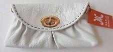 Carla Mancini Sidney Mini Clutch Shoulder Bag Off-White Textured Leather CM49