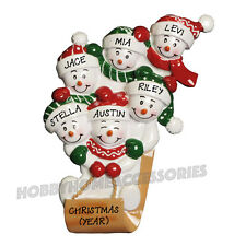 Sled Family of 6 Personalized Christmas Tree Ornaments