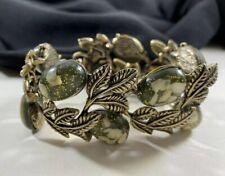 Vintage Green Confetti Lucite Bracelet Gold Leaves