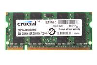 Crucial Laptop RAM 2GB 4GB 8GB DDR2 DDR3 PC2 PC3 800mhz 667 1333Mhz SODIMM Lot