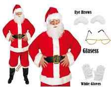Red Santa Suit Christmas 8 Pcs Costume Beard Eyebrows Glasses + Gloves One Size