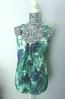 M&S Marks & Spencer Green Blue Tie Dye Chiffon Layered Strapy Top Blouse UK 10