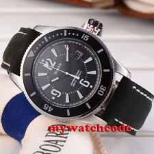 43mm Bliger black dial date ceramic bezel 21 jewels miyota automatic mens watch
