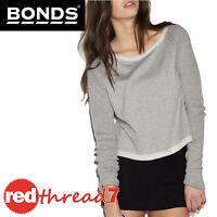 BONDS Womens Jumper Cropped Long Sleeve Top Crop Sweater Grey Tweed Texture Size