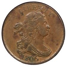 1806 C-4 NGC AU 55 Lg 6 w/ Stems Draped Bust Half Cent Coin 1/2c