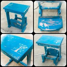 Antique, Child's Desk, With Folding Seat, Blue, Shabby Chic, Kids Desk, Table