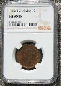 1882H CANADA LARGE CENT CHOICE UNC NGC MS60 BN