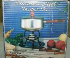 1970'S RETRO STAINLESS STEEL FONDUE SET..IN ORIGINAL BOX