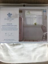 Simply Shabby Chic Sheer Cafe Curtain Set New White