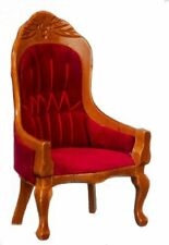 Miniature Dollhouse Victorian Gent's Chair Red Fabric 1:12 Scale New