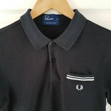 Superb Mens Fred Perry Polo Shirt Small MOD style Black and White S