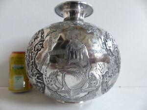 SUPERB ANTIQUE SOLID SILVER 84 PERSIAN MIDDLE EASTERN VASE ARTIST SIGNED 1372 gr