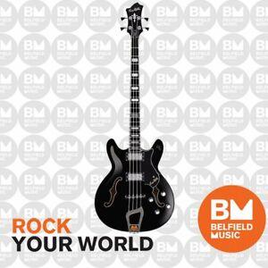 Hagstrom Viking Bass Guitar Semi-Hollow Black w/ Hardcase - Brand New
